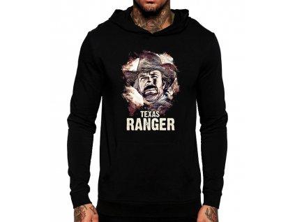 unisex černá mikina s kapucí Chuck Norris texas ranger