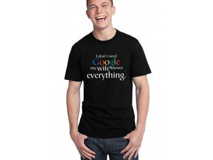 pánské černé tričko nepotřebuji google moje žena ví všechno