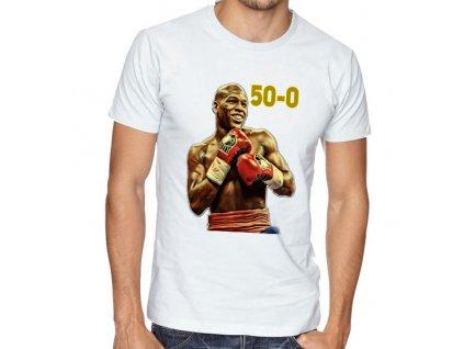 pánské bílé tričko floyd mayweather 50 0
