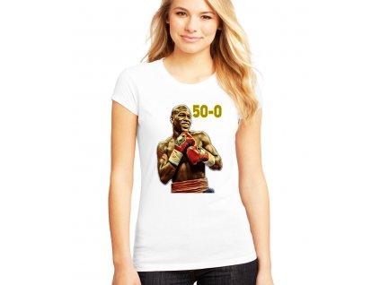 dámské bílé tričko floyd mayweather 50 0