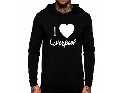 unisex černá mikina s kapucí Miluji Liverpool fc