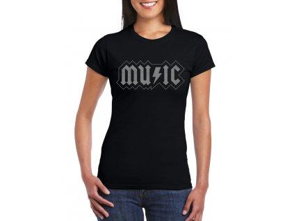 dámské černé tričko acdc music