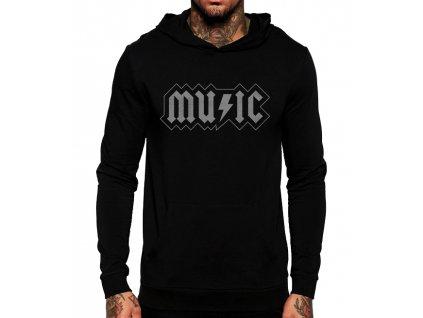 unisex černá mikina s kapucí acdc music