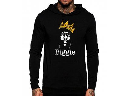 unisex černá mikina s kapucí biggie hip hop