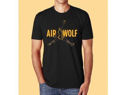 pánské černé tričko s potiskem air jordan wolf parodie na nike air jordan
