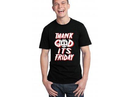 pánské černé tričko Díky bohu Je pátek