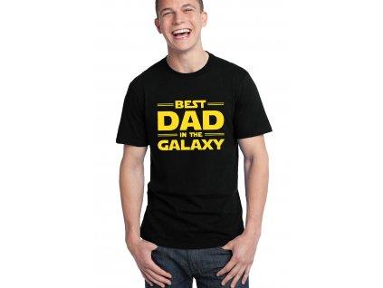 pánské černé tričko nejlepší táta v galaxii
