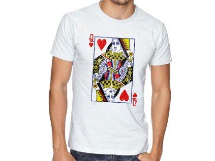 pánské bílé tričko poker Karta Q Srdcová