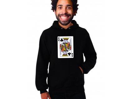 unisex černá mikina s kapucí Král křížový