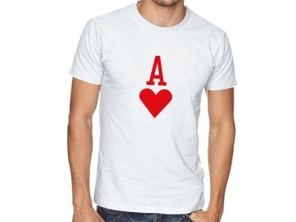 pánské bílé tričko eso srdcové