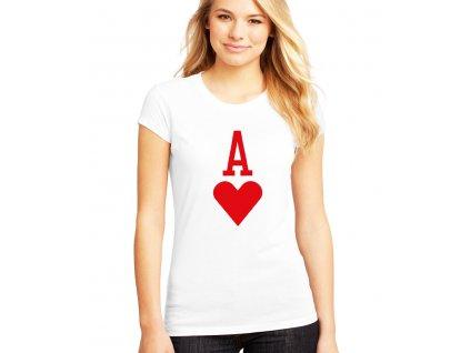 dámské bílé tričko eso srdcové