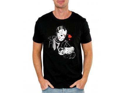 pánské černé tričko s potiskem zloděj je zamilovaný do pantofle