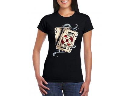dámské černé tričko Poker AJ