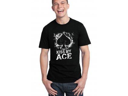 pánské černé tričko Poker kiss my ace