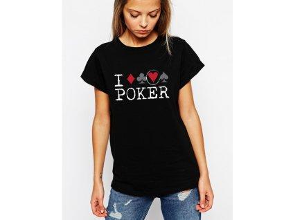 dámské černé tričko miluji poker