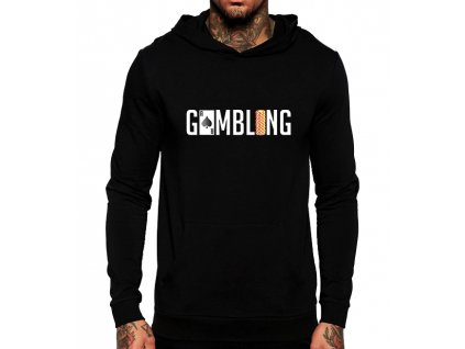 unisex černá mikina s kapucí gamblerství