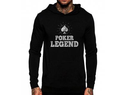unisex černá mikina s kapucí pokerová legenda