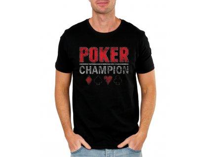 pánské černé tričko poker champion
