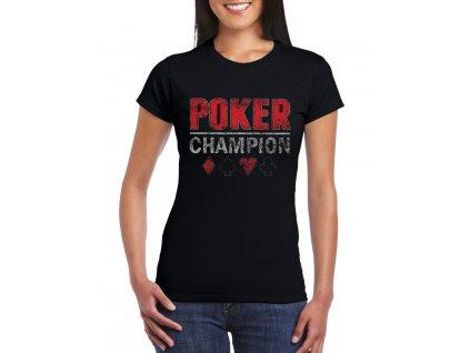 dámské černé tričko poker champion
