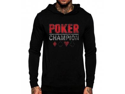 unisex černá mikina s kapucí poker champion