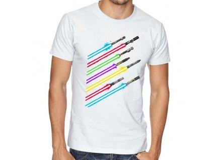 pánské bílé tričko star wars meče