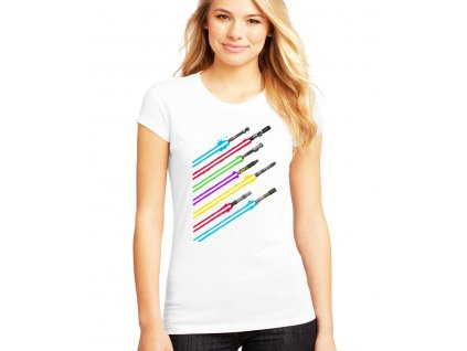 dámské bílé tričko star wars meče