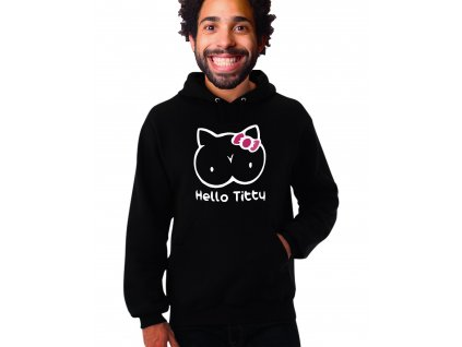 unisex černá mikina s kapucí hello titty parodie Hello kitty