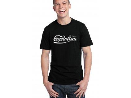 pánské černé tričko kapitalismus parodie coca cola