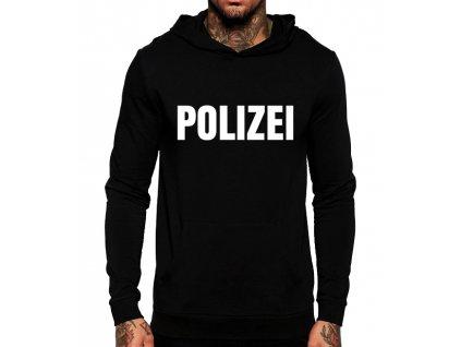 unisex černá mikina s kapucí polizei