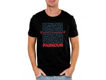 pánské modré tričko parkour hlavolam