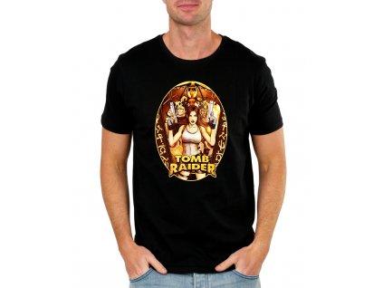 pánské černé tričko tomb raider lara croft