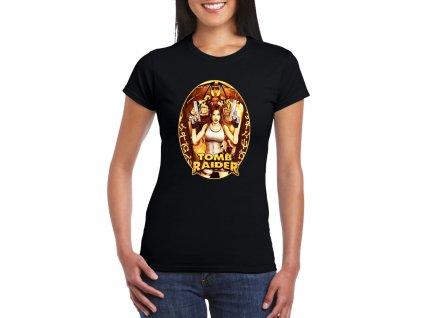 dámské černé tričko tomb raider lara croft