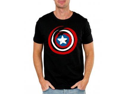 pánské černé tričko kapitán amerika