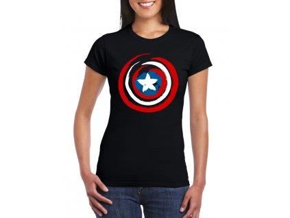 dámské černé tričko kapitán amerika
