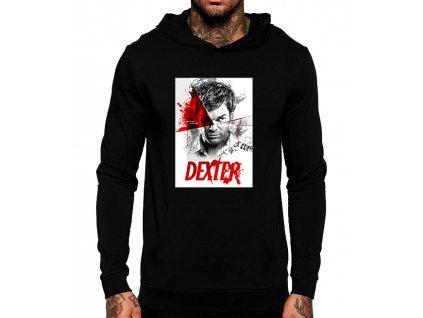 unisex černá mikina s kapucí Dexter