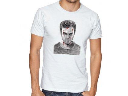 pánské bílé tričko dexter obličej