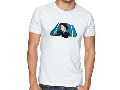 pánské bílé tričko John Wick Auto a Pes
