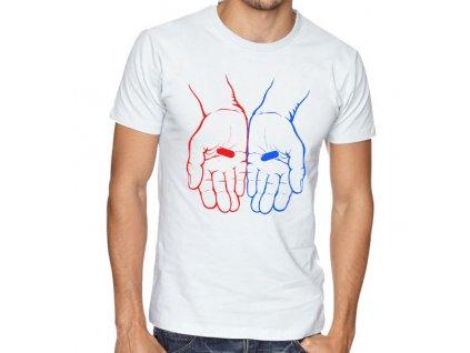 pánské bílé tričko matrix červená nebo modrá pilulka