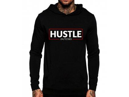 unisex černá mikina s kapucí hustle