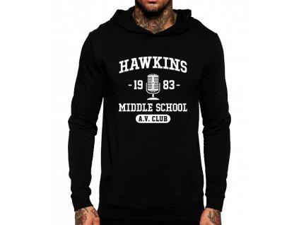 unisex černá mikina s kapucí Stranger Things Hawkins