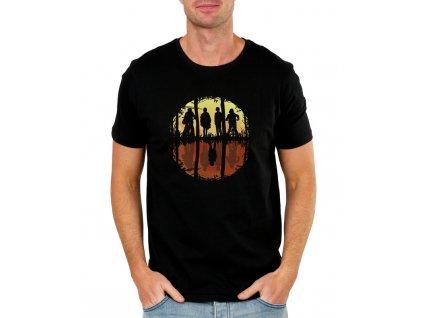 pánské černé tričko Stranger Things Přátele si nelžou