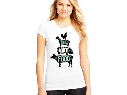 dámské bílé tričko vegetarián kamarádi ne jídlo