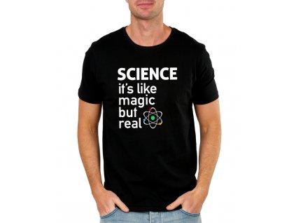 pánské černé tričko věda jsou něco jako kouzla ale skutečná