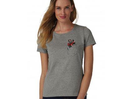 dámské šedé tričko ant man kapsička na prsou