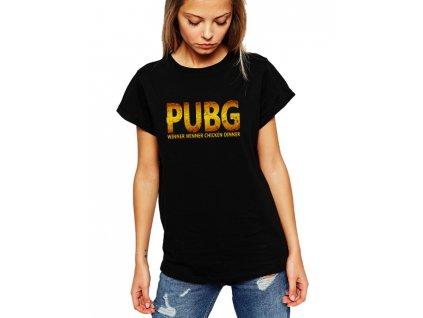 dámské černé tričko PUBG Chicken dinner