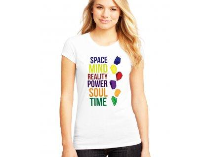 dámské bílé tričko 6 kamenů nekonečna avengers