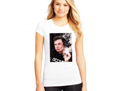 dámské bílé tričko elon musk marihuana