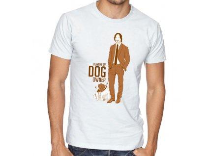 pánské bílé tričko john wick pes pozor na majitele