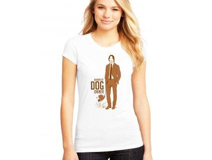 dámské bílé tričko john wick pes pozor na majitele