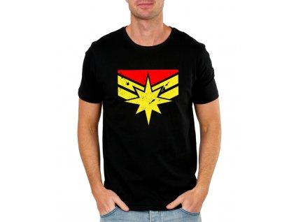pánské černé tričko captain marvel